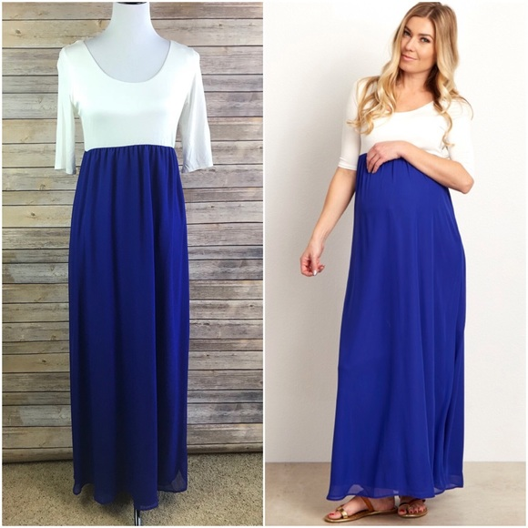efa751685de97 Pink Blush Maternity Royal Blue Maxi Dress. M_5b6c4122153795a4de16f3ff